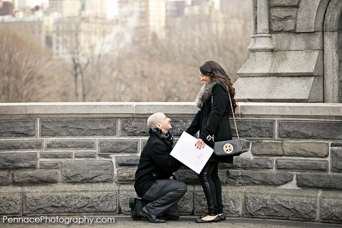 Caricature Marriage Proposal in Central Park NYC