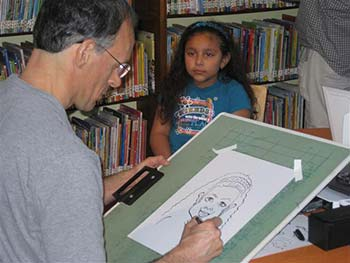 Drawing Caricatures at a Nassau County Library Event