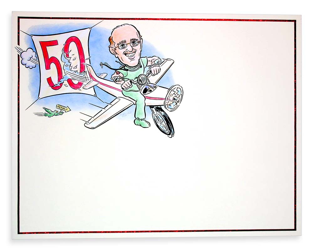 Caricature Sign-in Board for Nassau County Doctor-Pilot-Biker