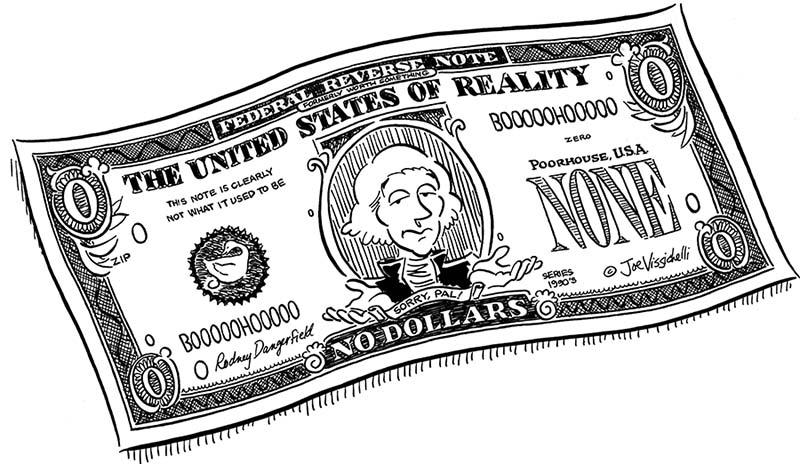 """No Dollars"" Black and White Illustration"