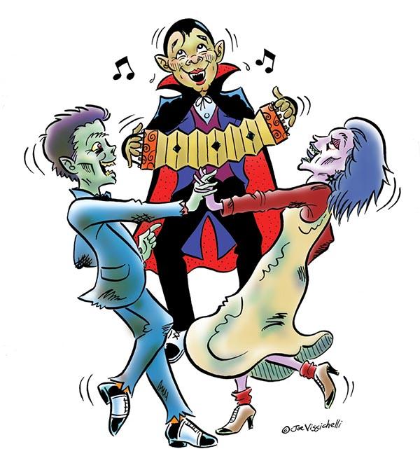 """Halloween """"Undead Ball"""" Humorous Illustration"""