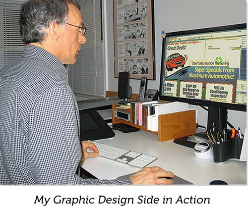 Joe Vissichelli Creates Graphic Design on his Computer
